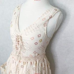 Free People Cream Geometric Midi Mid-length Dress